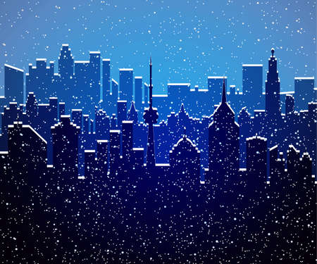 Winter city silhouette, office and residental buildings, falling snowflakes. sky. Christmas and new year, winter urban cityscape vector illustration Ilustração