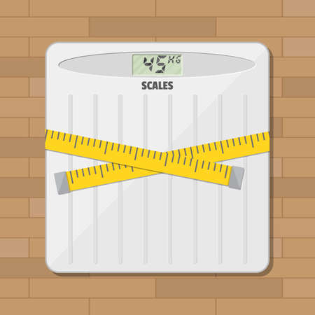 bathroom weight scale: Bathroom floor weight scale and measuring tape. vector illustration in flat style on wooden background