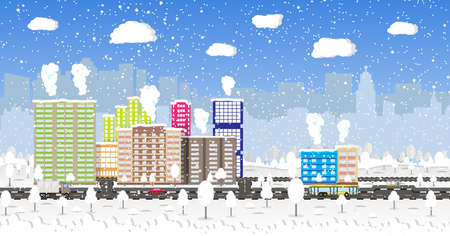 residental: Beautiful winter city with park alley, office and residental buildings, roads, trees. car. truck. bus, falling snowflakes. sky. Christmas and new year, winter urban cityscape vector illustration