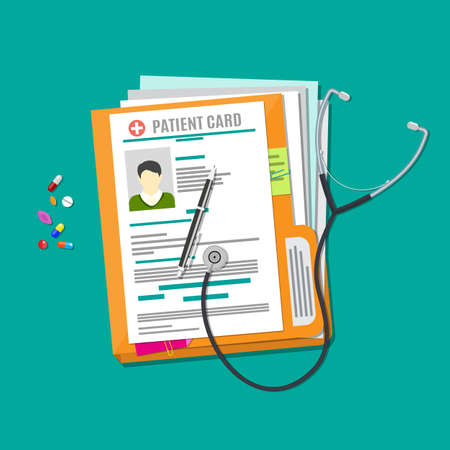 Folder woth documents, stethoscope, pills, pen. patient card. medical report. analysis or prescription concept. vector illustration in flat style Иллюстрация