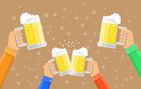 clinking: people holding beer glasses and clinking, celebration event, vector illustration in flat style