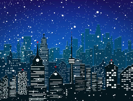 residental: Winter city silhouette, office and residental buildings, falling snowflakes. sky. Christmas and new year, winter urban cityscape vector illustration Illustration