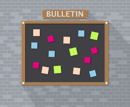 backlog: Bulletin board hanging on brick wall full of tasks on sticky note cards. Development, team work, agenda, to do list. vector illustration in flat style with long shadow