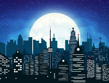 Silhouette of the city with cloudy night sky, stars and full moon. vector illustration