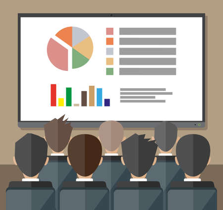 staff meeting: large tv screen with chart pie do presentation to other business people. Training staff, meeting, report, business school. vector illustration in flat style Illustration