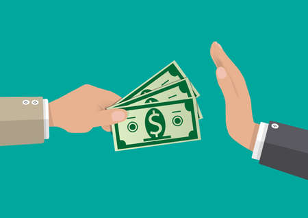 hand giving money to other hand. anti Corruption concept. vector illustration in flat style Vectores