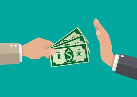 Main donner de l'argent à d'autre part. anti- concept de corruption. illustration vectorielle dans un style plat Banque d'images - 67908882