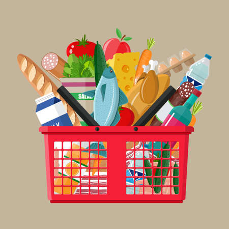 basketful: Red plastic shopping basket full of groceries products. Grocery store. vector illustration in flat style