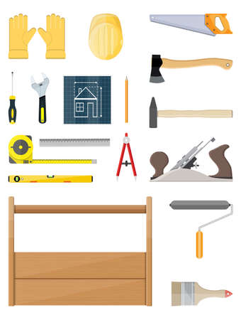 construction tools set. Carpentry instruments. vector illustration in flat style