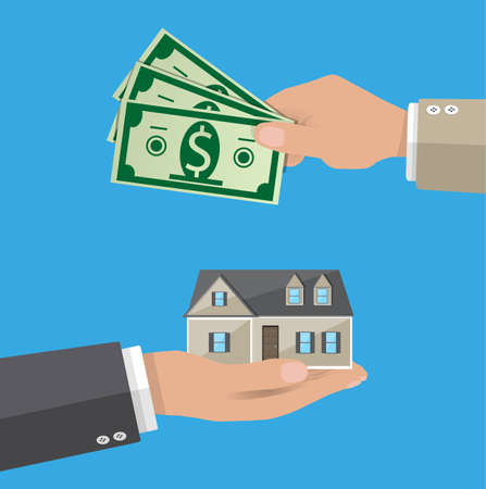 Hands with money and house. Real estate. vector illustration in flat style Stock Illustration - 67908913