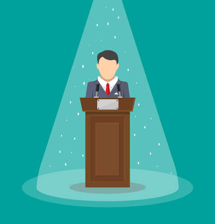 public speaker: orator speaking from tribune. public speaker. vector illustration in flat style
