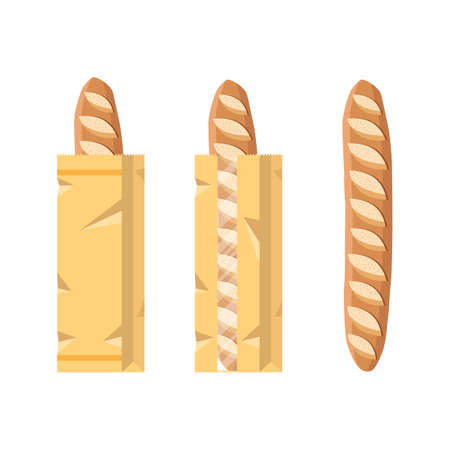 Bread in a paper bag. Packed French Baguette, loaf. Vector illustration in flat style