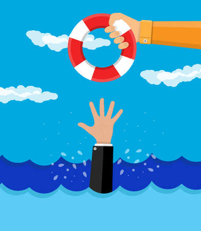 drowning: drowning businessman gets a lifebuoy. save business concept. vector illustration in flat style