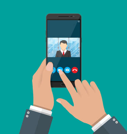 communicates: Hands with smartphone. Director communicates with staff . Online meeting, video call, webinar or training. Vector illustration in flat style Stock Photo