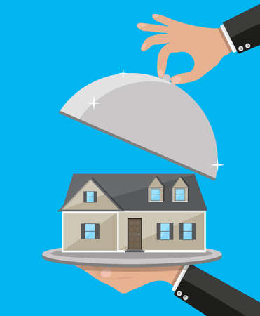 Hand opens serve cloche with house inside. present concept. vector illustration in flat design on blue background. Illustration