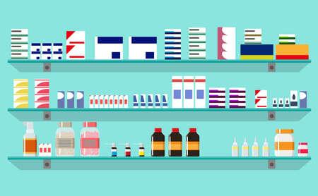 penicillin: Modern interior pharmacy or drugstore. Medicine pills capsules bottles vitamins and tablets. vector illustration in flat style