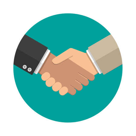 equal opportunity: Businessmans handshake icon. vector illustration in flat design at grey background. shaking hands. successful transaction