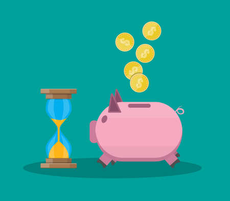 annuity: Time is money, old style hourglass clock and piggy bank. vector illustration in flat style