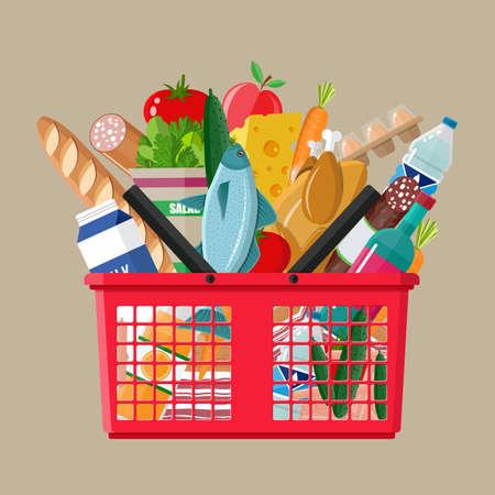 Cesta de compra plástica vermelha completa de produtos de mercearia. Bomboneria. Ilustração do vetor no estilo plana