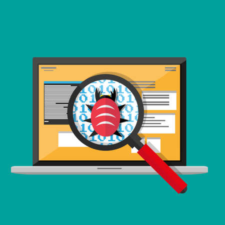 bug and virus in the programming code, notebook with developers applications, magnifying glass, gears. software testing quality control. vector illustration in flat style