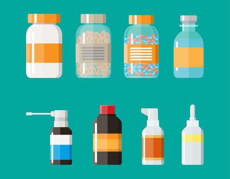 medicine bottles: Set of medicine bottles with labels and pills