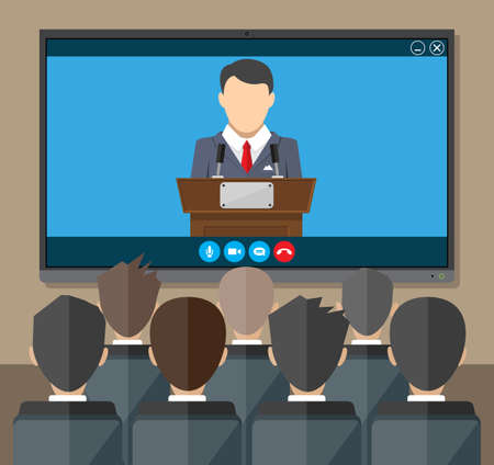 Online conference. Internet meeting, video call 向量圖像
