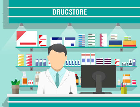 Modern interior pharmacy or drugstore with male pharmacist at the counter. Medicine pills capsules bottles vitamins and tablets. vector illustration in flat style Vector Illustration