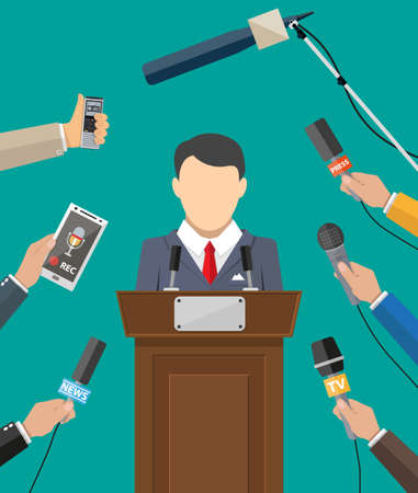 public speaker: Public speaker and hands of journalists