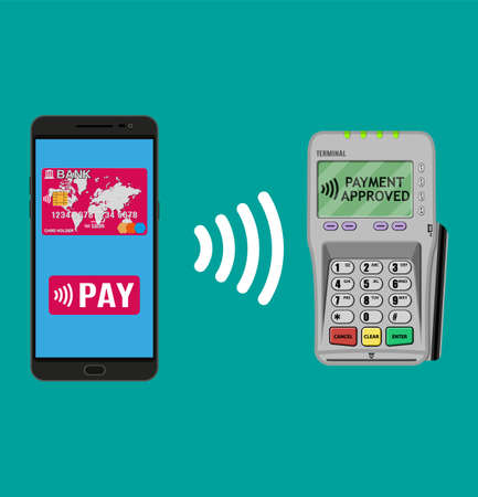 confirms: Pos terminal confirms the payment by smartphone. Vector illustration in flat design. nfc payments concept