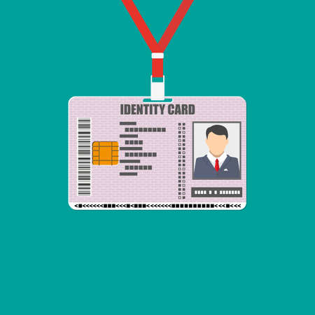 national identity: Id card with lanyard. national identity