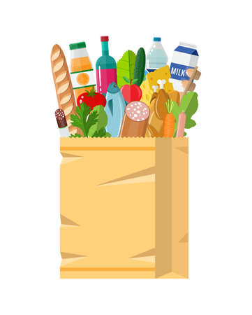 basketful: Paper shopping bag full of groceries products Stock Photo