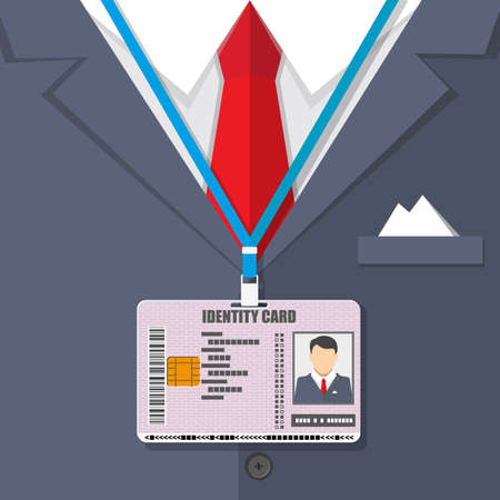 id badge: man suit with red tie and id badge.