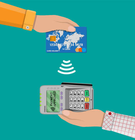 confirms: Pos terminal confirms the payment by bank card. nfc payments concept Vector illustration in flat design. Illustration