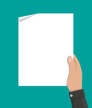 hand holding empty blank paper Ilustração