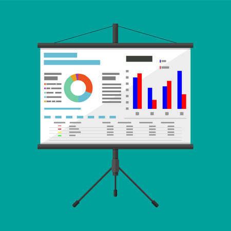 Projector screen with business presentation  イラスト・ベクター素材