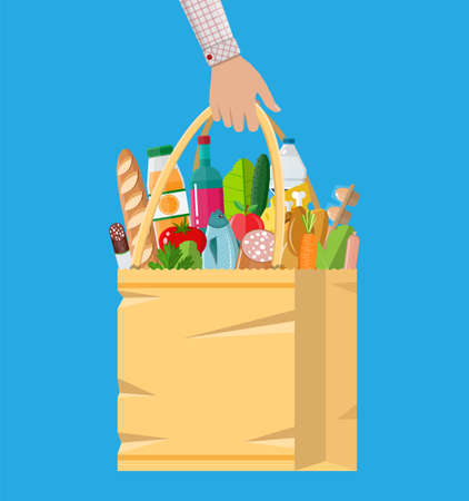 basketful: Paper shopping bag full of groceries products Illustration