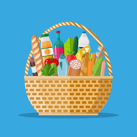 wicker basket full of groceries products Illustration
