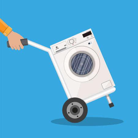 hand truck: Metallic hand truck with washing machine