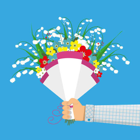 Cute bouquet of flowers in hand Illustration