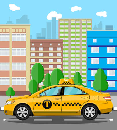 Urban cityscape with taxi cab