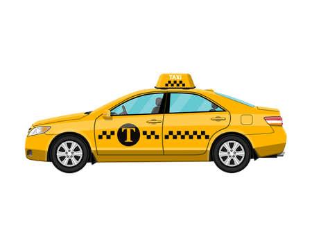 Gelbes Taxiauto getrennt auf Weiß,