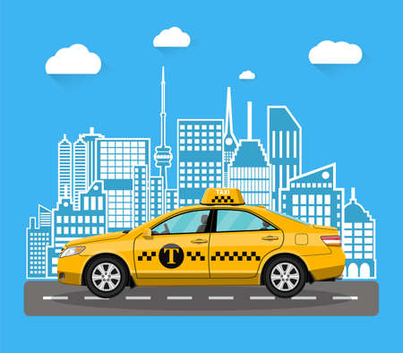 abstract urban cityscape with taxi cab Illustration