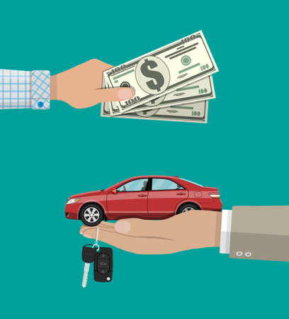 hand gives car and keys to another hand with money. buy, rental or lease a car. vector illustration in flat style Stock Photo