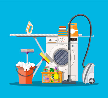Laundry room with washing machine, ironing board, vacuum, mop, clothes rack, household chemistry cleaning, washing powder and basket. vector illustration in flat style