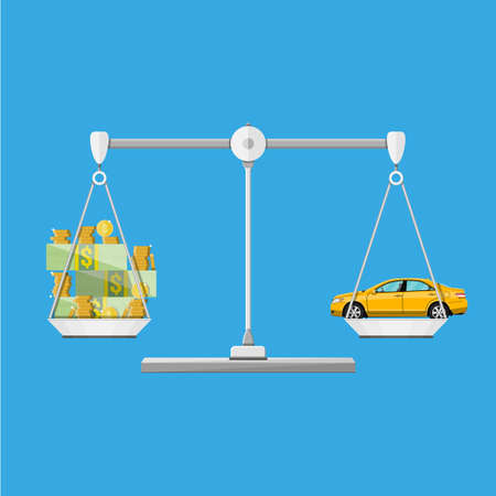 Scales with car and money coins cash, vector illustration in flat style Stock Photo