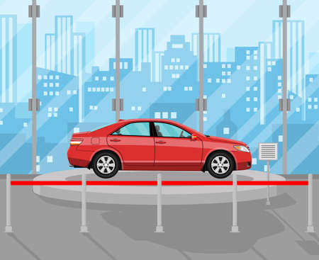 Exhibition Pavilion, showroom or dealership with red car, vector illustration in flat style. Stock Illustration - 70392036