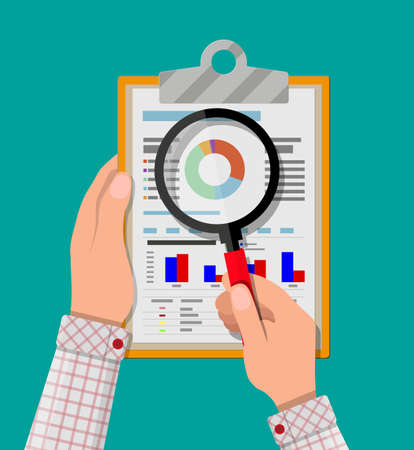 hand holding clipboard with financial reports and magnifying glass. vector illustration in flat design