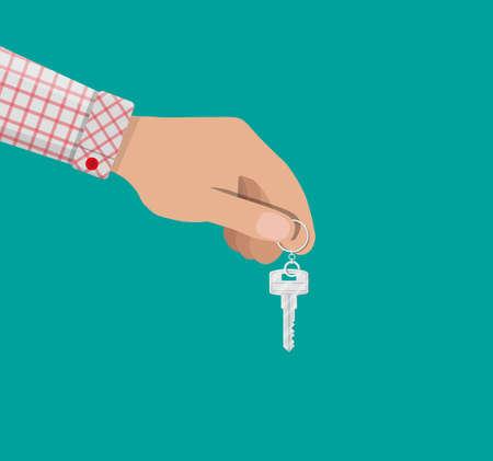 administrador de empresas: Llave de mano y metal con anillo en estilo plano