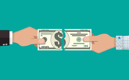 hombre de negocios, manos, rasgar, aparte, dinero, billete, dos, peaces. ilustración vectorial en diseño plano