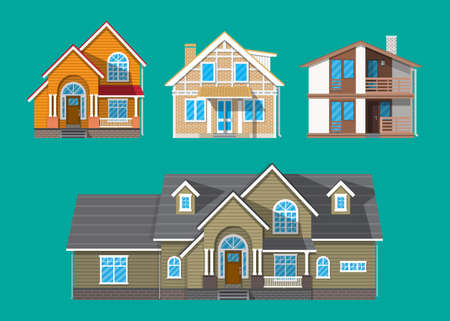 Suburban family house set. countrysdie wooden and brick house icon. vector illustration in flat style